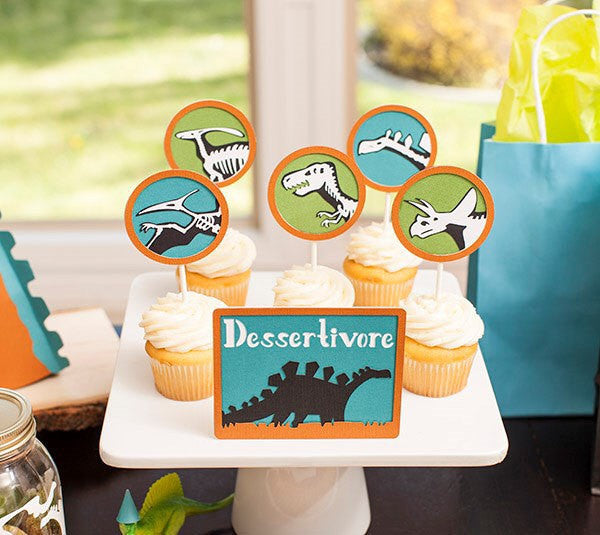 12 Dinosaur fossils cupcake toppers | Jurassic themed party cupcake picks.