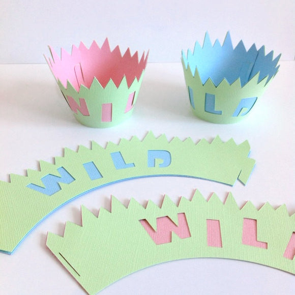 12 BLUE WILD Safari Cupcake Wrappers | Zoo baby shower cupcake liners!