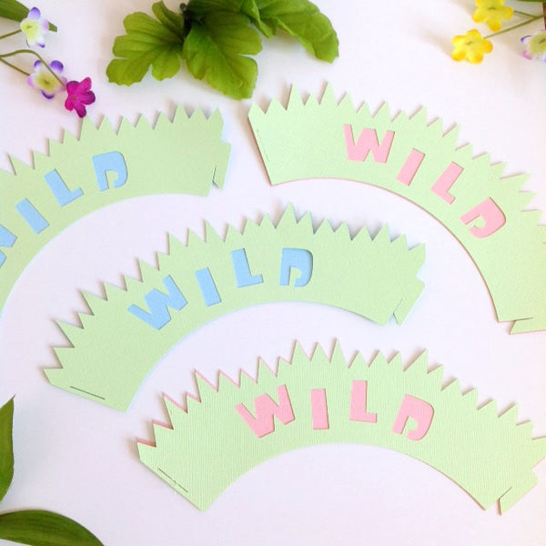 12 BLUE WILD Safari Cupcake Wrappers | Jungle baby shower | Zoo theme cupcake liners.
