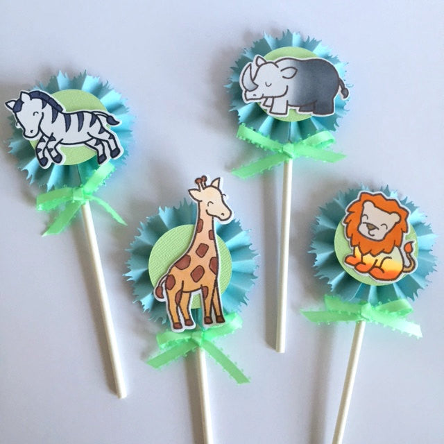 12 Safari Cupcake Toppers | Jungle - Zoo party Cupcake picks!