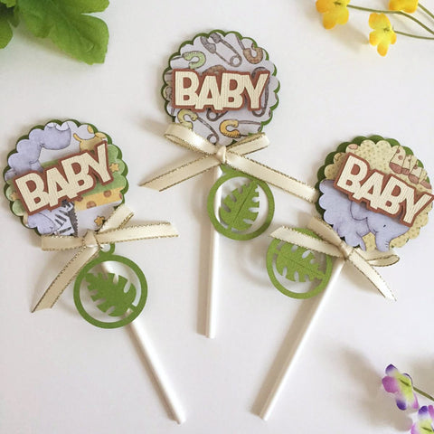 15 Safari Cupcake Toppers | Jungle theme baby shower decor | Safari cupcake picks.