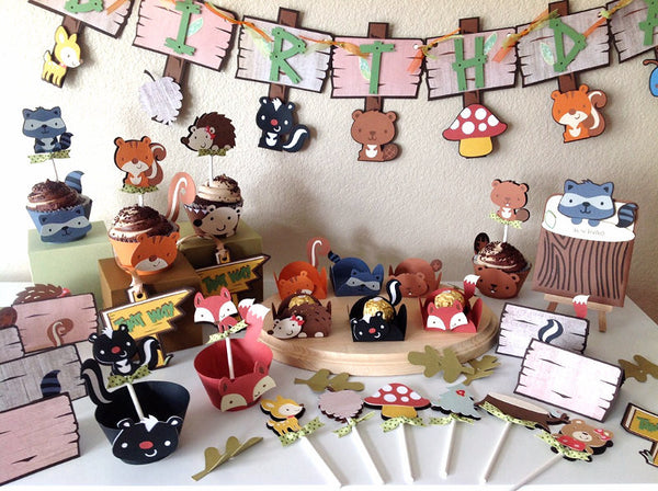 12 Woodland place cards | forest animals food tents | Woodland birthday party decor.