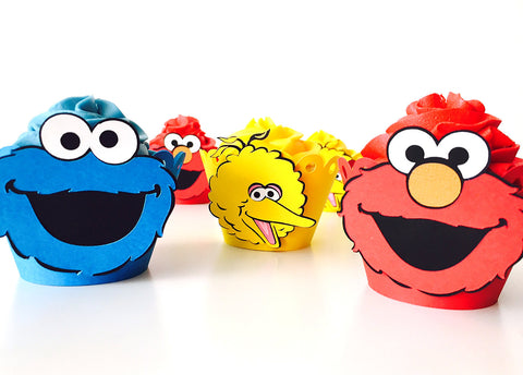 12 Sesame Street cupcake wrappers | Sesame Street party party cupcake liners.