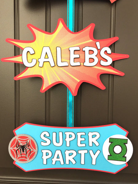 Superheroes Door Sign | Comic book superhero personalized welcome sign.