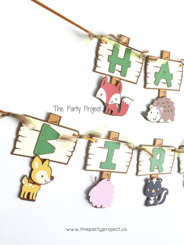 "Woodland creatures ""Happy Birthday"" banner 