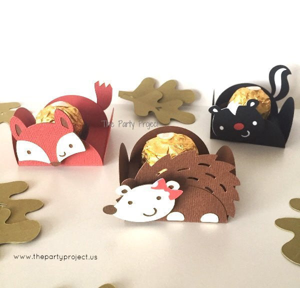 12 Woodland treat holders | forest creatures themed candy cups.