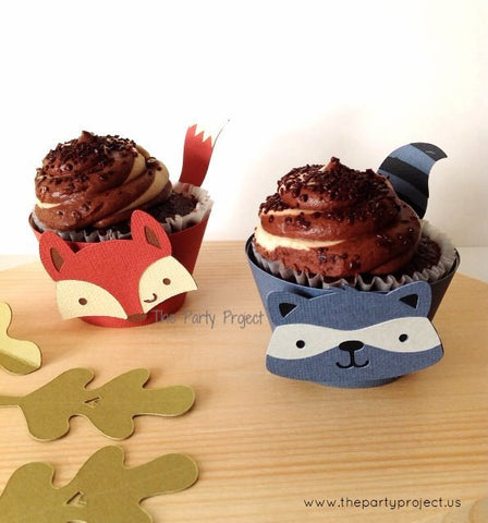 12 Woodland cupcake wrappers | Forest animals -Woodland themed party cupcake liners.