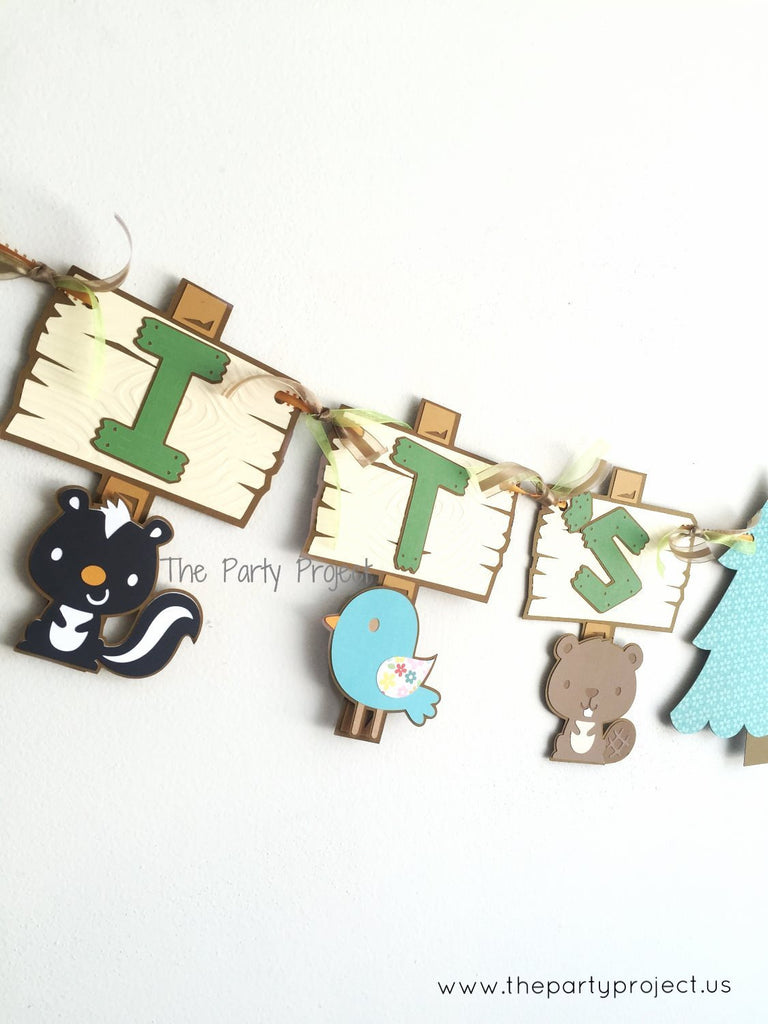 "Woodland creatures ""It's a boy"" banner 