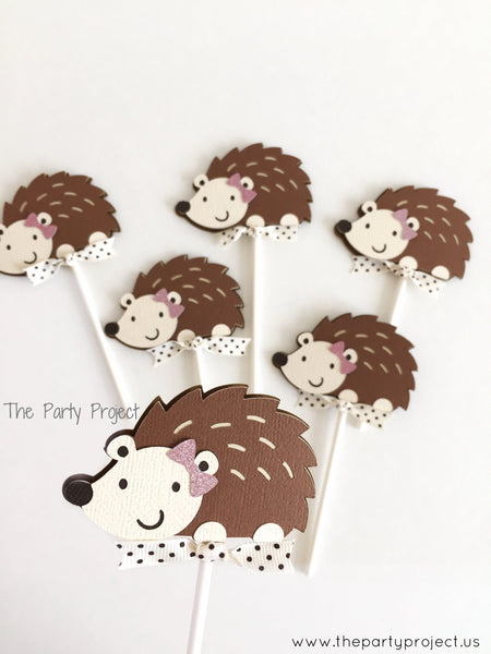 12 Girl Hedgehog Cupcake Toppers | Little Hedgehog party | Woodland cupcake picks.