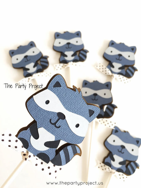 12 Raccoon Cupcake Toppers | Little raccoon - woodland creatures cupcake picks.