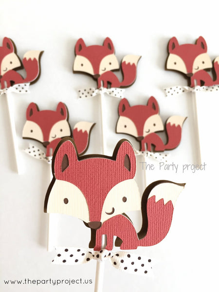 12 Fox Cupcake Toppers | Little fox baby shower | woodland party cupcake picks.