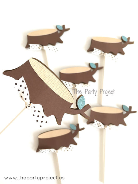 12 Stump Cupcake Toppers | Forest - Woodland party cupcake picks.