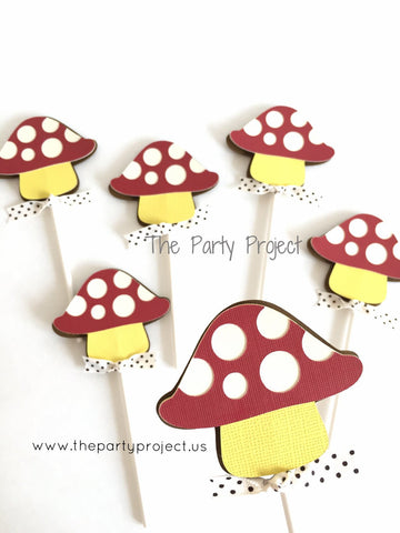 12 Mushroom Cupcake Toppers | Forest - Woodland birthday party cupcake picks.