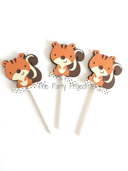 12 Squirrel Cupcake Toppers | Little squirrel - Woodland creature cupcake picks.