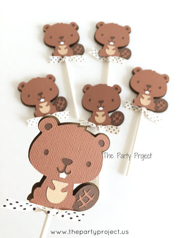12 Beaver Cupcake Toppers | Little Beaver - Woodland creature cupcake picks.