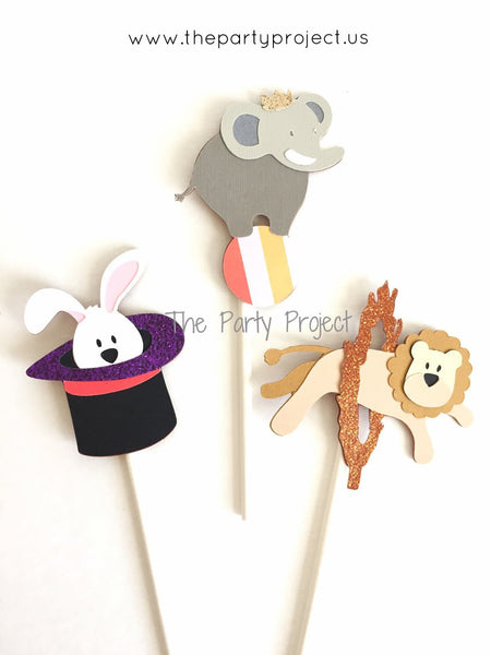 12 Circus cupcake toppers | Carnival themed party cupcake picks.