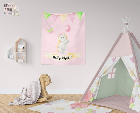 Hello World Tapestry, Unicorn Nursery Decor