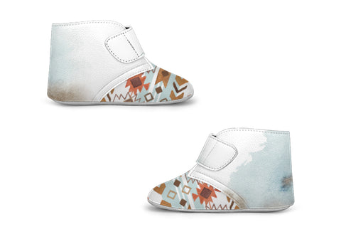 Bohemian Chic Baby Shoes, Wild Blue High-Top Strap Shoes