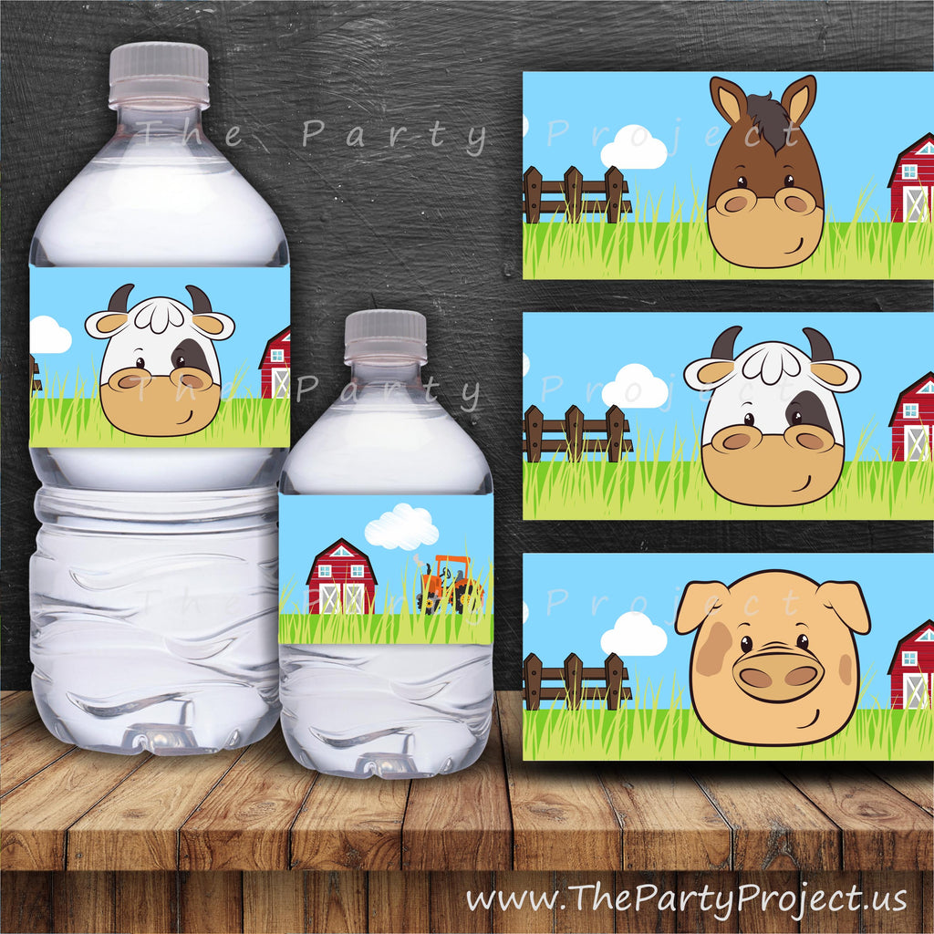 THE PARTY PROJECT | Barnyard party water bottle labels!