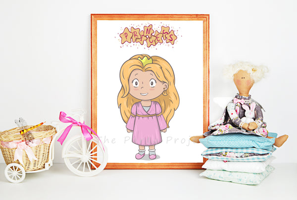 Princess wall art | Little princesses Printable wall decorations - DIY Home, nursery, and kids room decor.