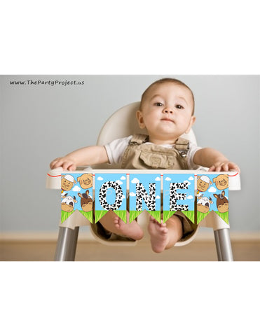 THE PARTY PROJECT | Farm high chair banner - Barnyard bash first birthday party!