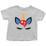 American Unicorn Baby and Toddler Shirt, Patriotic Girl Clothes