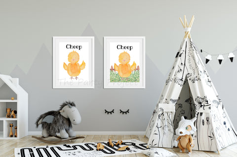 "DIY PRINTABLE Chick wall art | Digital Download | Farm animals nursery | Farm Printables kids rooms decor | 8"" x 10"" chicken - cheep watercolor print art!"