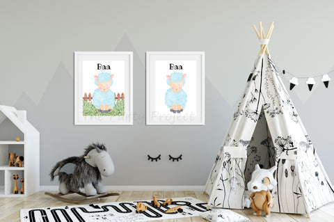 "DIY PRINTABLE Sheep wall art | Digital Download | Farm animals nursery | Farm Printables kids rooms decor | 8"" x 10"" Sheep - Baa watercolor print art!"
