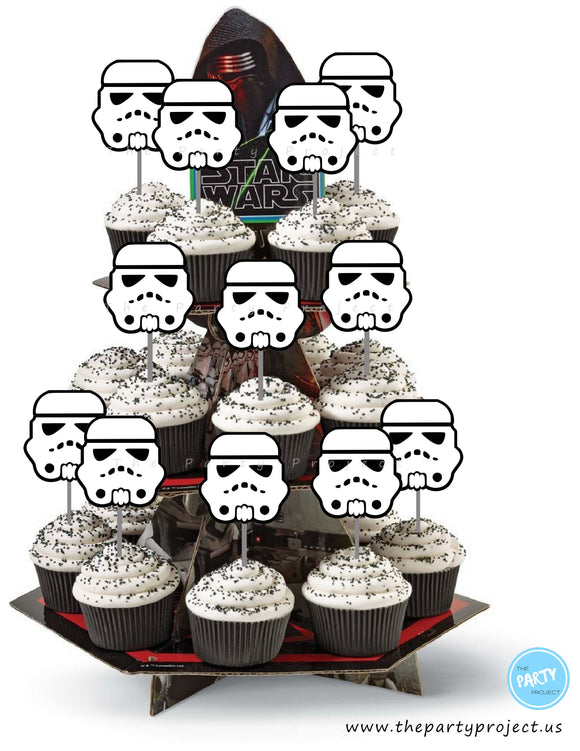 The Party Project | Star Wars party printables - Stormtrooper cupcake toppers!