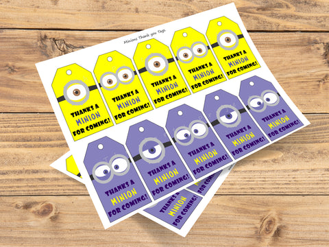 DIY PRINTABLE Minions thank you tags | Despicable Me party gift tags!