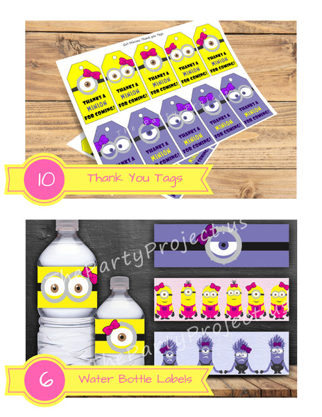THE PARTY PROJECT | Girly minions thank you tags and Girly Minions water bottle labels!