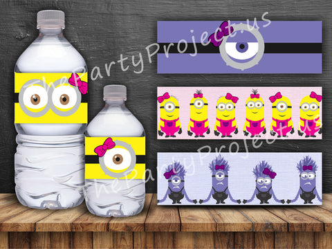 "DIY PRINTABLE Girl Minions bottle labels | Digital Download | 8.5"" x 2"" Pink Despicable Me water bottle labels!"