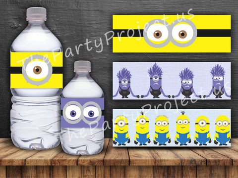 "DIY party PRINTABLE Minions bottle labels | Digital Download | 8.5"" x 2"" Despicable Me water bottle labels!"