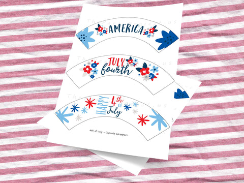 Patriotic cupcake wrappers | 4th of july party printables!