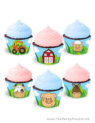 THE PARTY PROJECT | Farm cupcake wrappers - Barnyard cupcake decorations