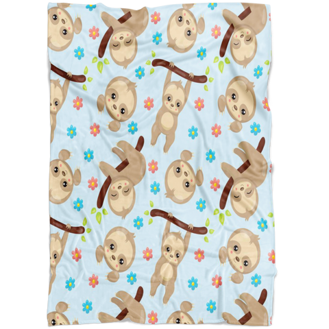 Sloth Baby Blanket - Baby Shower Gift - Nursery Blanket - Travel Blanket - Baby Boy Sloth Blanket - Minky Blanket - Baby Christnas Gift