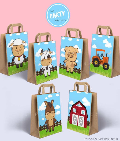 farm party bag decorations| barnyard party printables