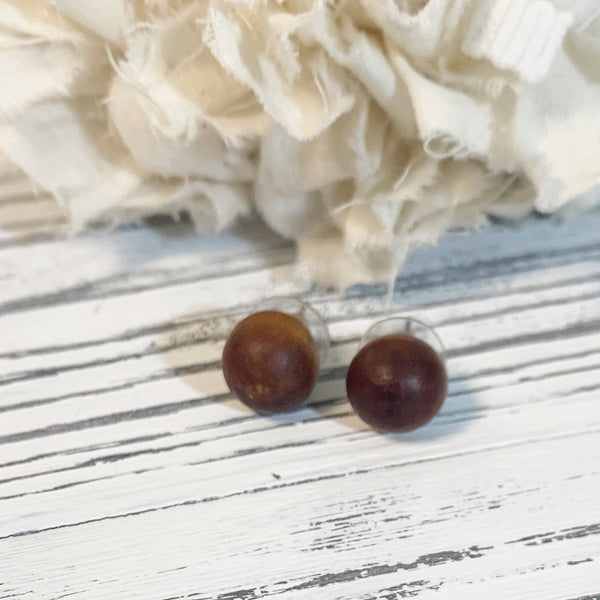 Natural Wood Ball Stud Earrings