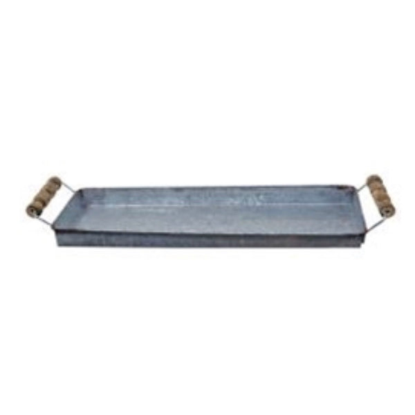 Galvanized Tray w/wood handles