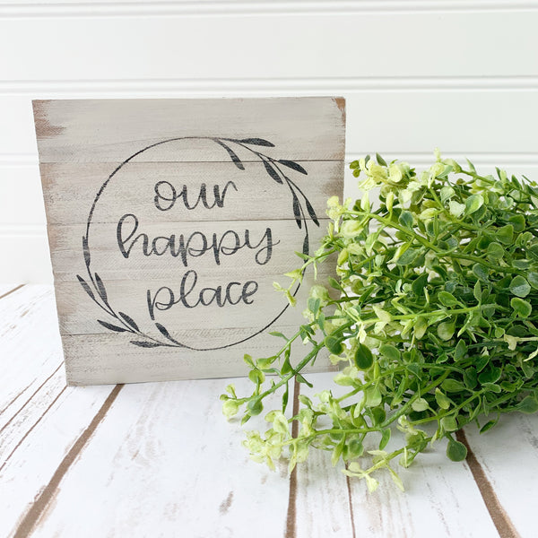 """Our Happy Place"" Everyday Farmhouse Shiplap Sign DIY Kit"