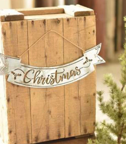 Galvanized Metal Christmas Banner - 14""