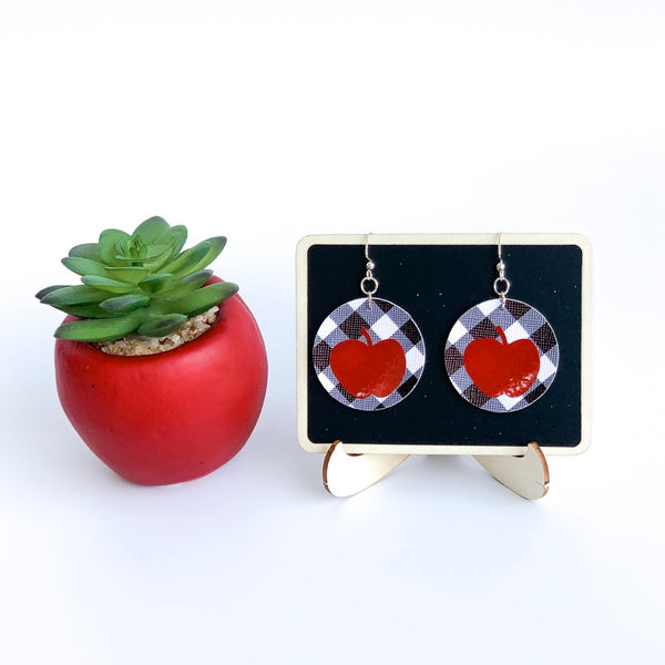 Apples for the Teacher Vegan Leather Earrings - Limited Edition