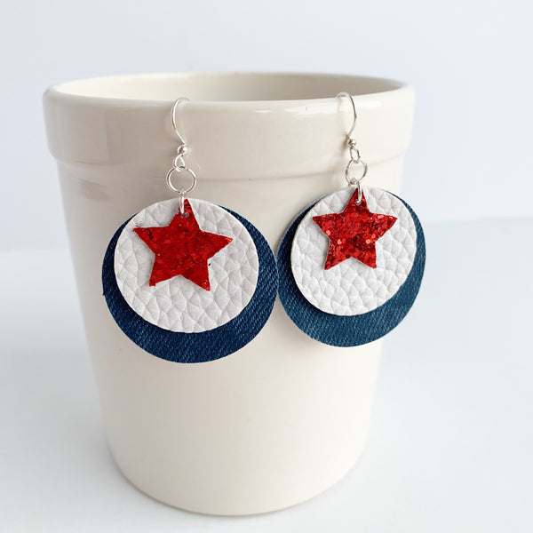 Red, White, and Blue Vegan Leather Circle Earrings