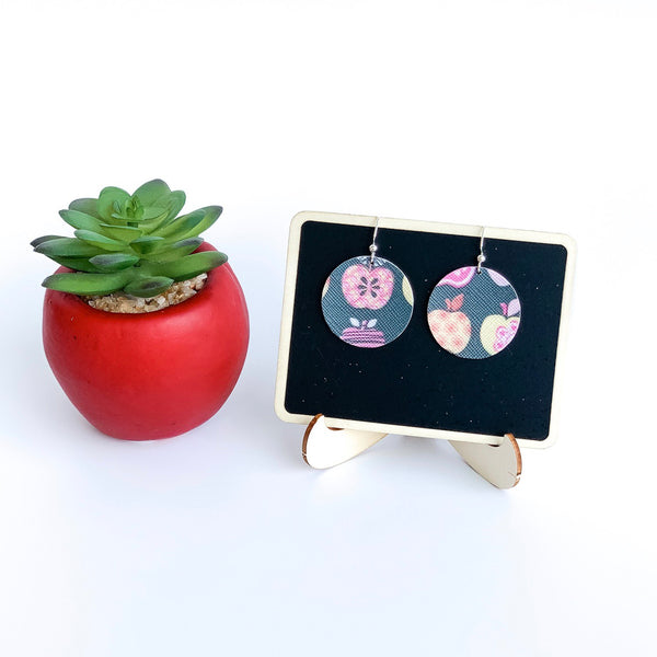 Chalk & Apples Vegan Leather Circle Earrings - Limited Edition