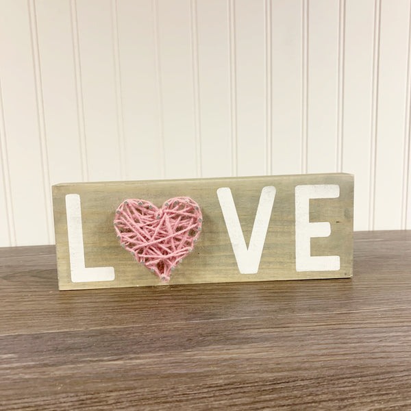 LOVE String Art Shelf Sitter Sign