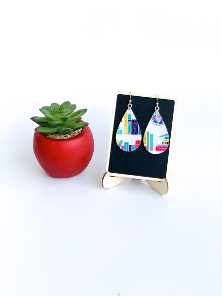 By the Books Vegan Leather Teardrop Earrings - Limited Edition