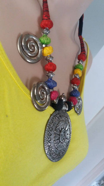 BOHEMIAN STYLE HANDCRAFTED ETHNIC VINTAGE  GERMAN SILVER NECKPICE