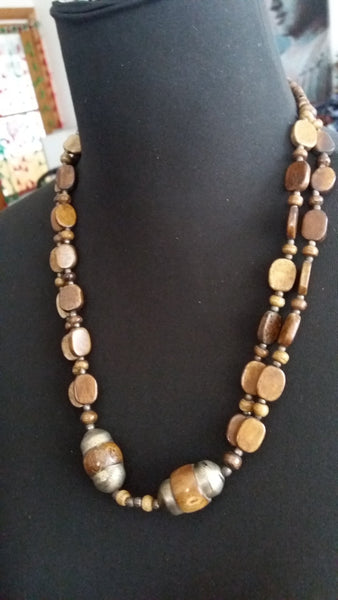 Bohemian style handcrafted bone necklace