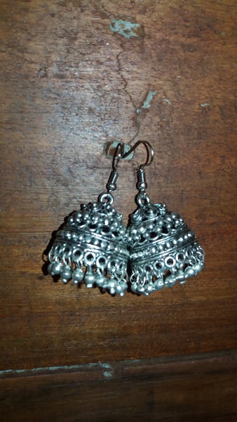 BOHEMIAN STYLE HANDCRAFTED GERMAN SILVER EARRINGS  BEADS