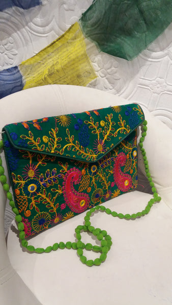 Bohemian style handcrafted Ethnic tassel Suzani Clutch